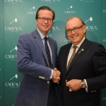 Fabergé Director of Global Communications Mr. Justin Hogbin with Mr. Philip A. Baechtold