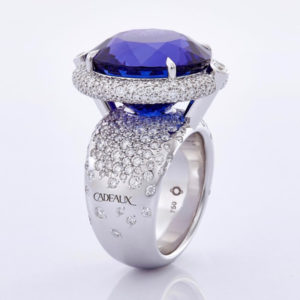 Ring Fine Gem Tanzanite in 18 Karat white gold set with diamonds and a 29,8 cts Tanzanite by Tevin Baechtold CRÉATION CODEX